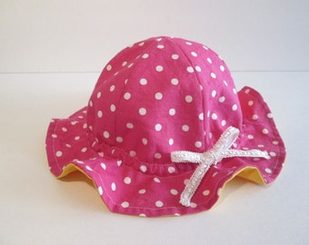 Baby Sun Hat with Adjustable Ribbon, Cotton Hat, Baby Girl Sun Hat, Baby Summer Hat, Pink polka dots and yellow