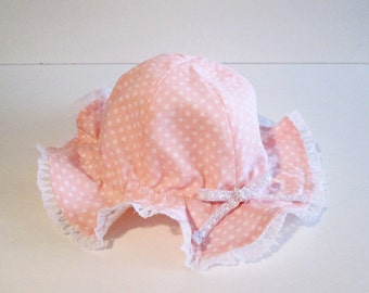 5 COLORS, Ribbon Hat, Baby Girl Sun Hat with Adjustable Ribbon, Baby Sun Hat, Baby Girl Summer Hat, Baby Easter Hat, Polka Dots