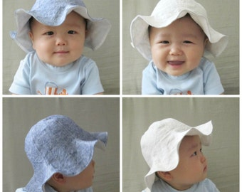 4 Colors, Linen Baby Sun Hat, Children's Summer Hat, Toddler Sun Hat, Baby Boy Sun Hat, Natural Hat, 3 months to 6 years