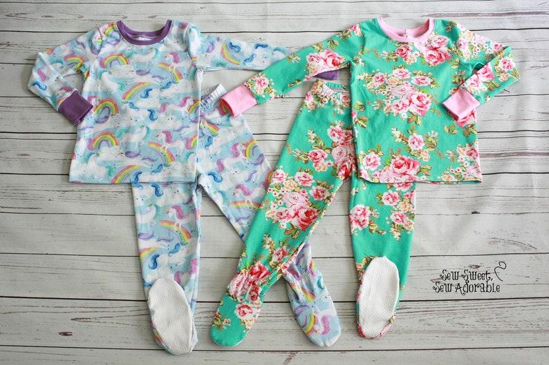 5231fe21e6fc Pajamas with Feet Footie Pajamas CUSTOM Two Piece PJs with