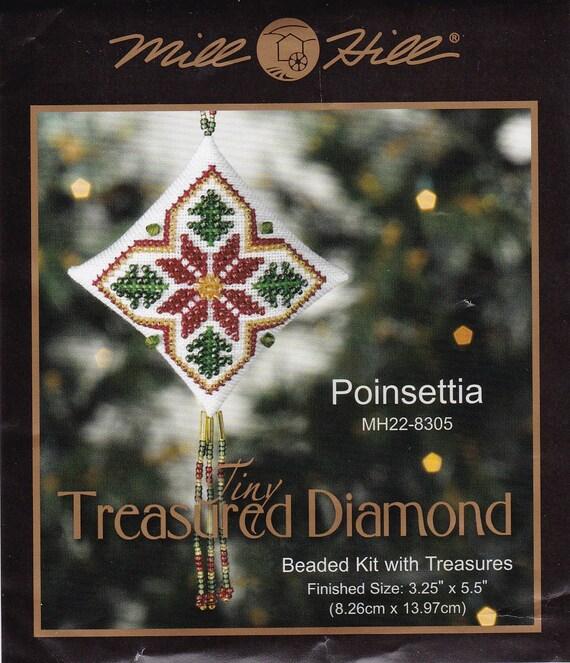 Mill Hill Tiny Treasured Diamond Poinsettia Kit MH22-8305.