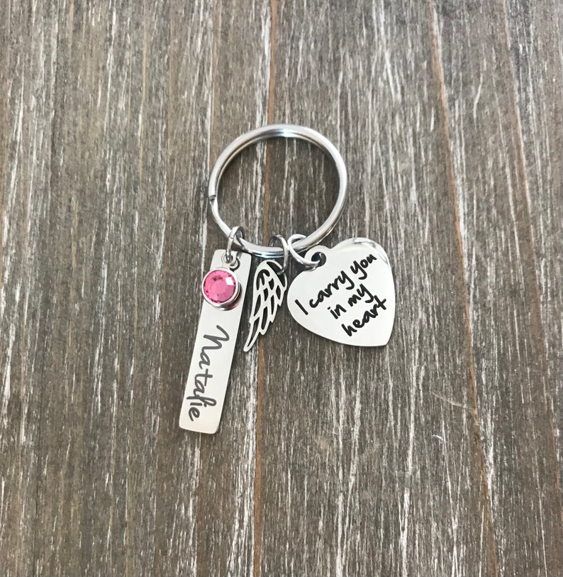 personalized name birthstone memorial Key chain Sympathy Gift loss of Daughter son Mother Father Grandma Child Memorial Memorial Keychain