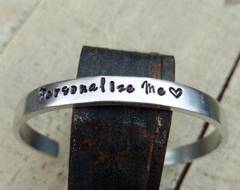 custom personalized cuff Bracelet / custom you choose saying quote name bracelet  /  custom Hand stamped Bangle bracelet