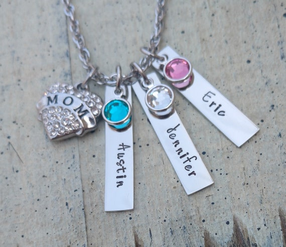 Birthstone Necklace with Stamped Ring and Crystal Heart Daughter or Mum Gift