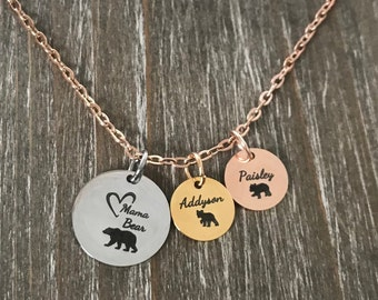Mama Bear Necklace with cubs/  1 2 3 4 5 6 baby cubs necklace  / Mama Bear jewelry / Family Bear necklace / Personalized Mama Papa bear cub