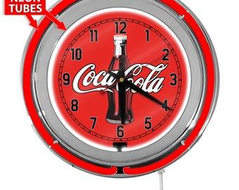 Coca Cola Coke Soda Garage Wall Art Sign Coca-Cola  Wings Retro Neon Clock