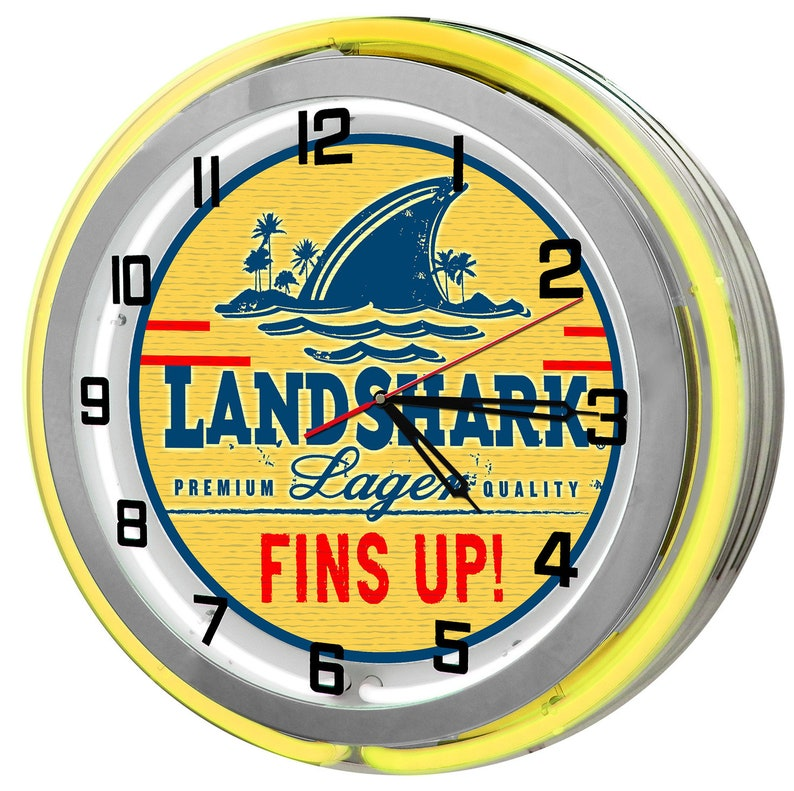 57670d9f6 Landshark Lager Extra 18 Double Yellow Neon Clock   Etsy