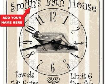 Bath House Personalized Novelty Bathroom Wall Clock