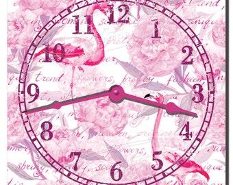 Pink Flamingos Decorative Kitchen Wall Clock