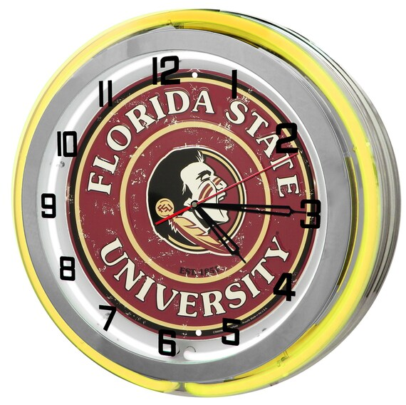 Florida State Seminoles Football Neon Clock