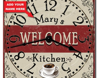 Kitchen Welcome Personalized Wall Clock