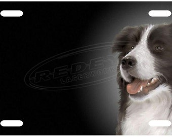 Border Collie License Plate Tag