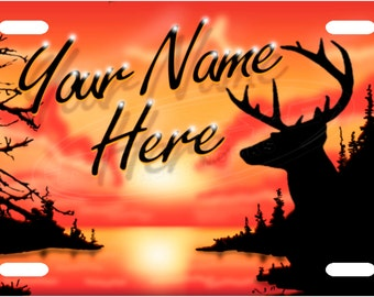 Personalized Morning Buck License Plate Tag