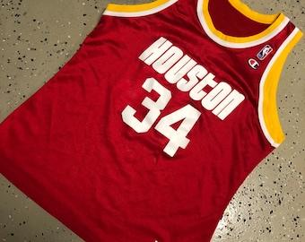 6f5e33461313 Vintage 90s NBA Houston Rockets Hakeem Olajuwon Champion Jersey Size 44
