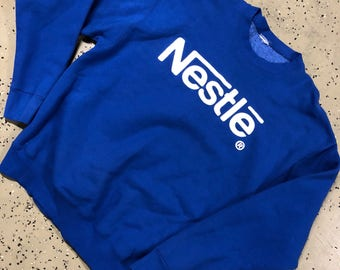Vintage Nestle Chocolate Spell Out Crewneck Sweater BIG LOGO Advertising