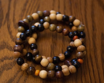 Mixed Wood Bead Bracelet Set