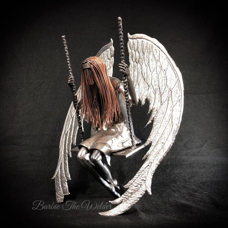 af679607977d6 Broken Angel Metal Sculpture Sad Angel On A Swing Swinging