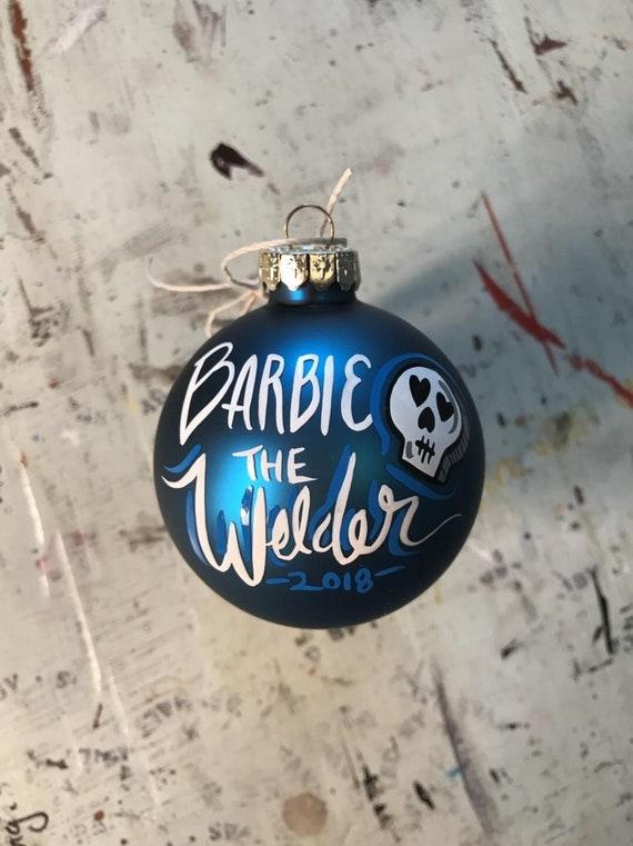 image 0 - 2018 Barbie The Welder Christmas Ornaments Blue Skull Welding Etsy
