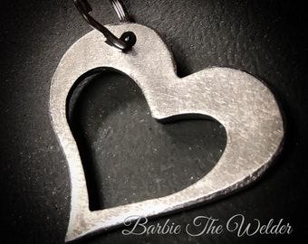 HEART Shaped Keychain Zipper Pull Charm Metal Art Keys Small Keyring Barbie The Welder Artist