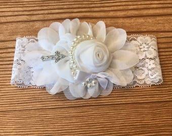 Christening / Baptism White Lace Pearl Headband