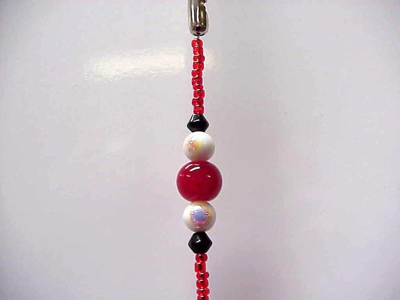 Red Cupcake Beaded Fan or Light Pull Single OR Rear View Mirror Charm