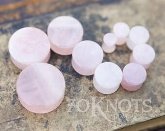 PAIR Rose Quartz Flower Stone Plugs Carved Pink Double Flare Organic Gauges