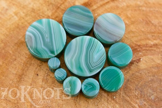 1 Pair 19mm Organic 11mm Gray Stripe Agate Stone Plugs 25mm 8mm 14mm 6mm 16mm 22mm Double Flared 10mm 12.7mm