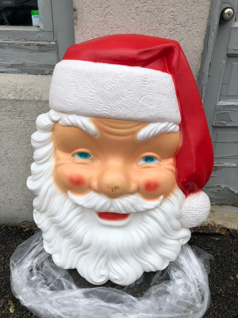 Blow Mold Christmas Yard Decorations.Christmas Santa Face Blow Mold Yard Decoration Plastic Light Up