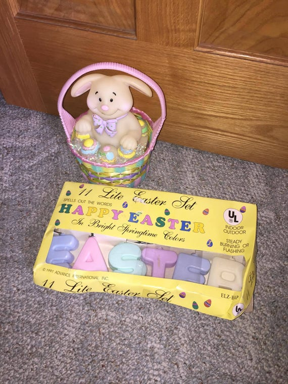Easter Bunny In Basket And Easter Lights Blow Molds Yard Etsy
