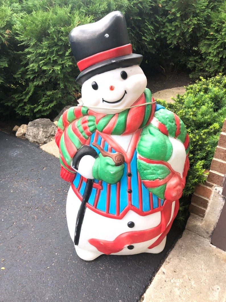 Blow Mold Christmas Yard Decorations.Christmas Santa S Best Snowman Blow Mold Yard Decoration Plastic Light Up