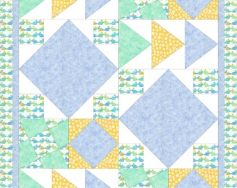 Modern, baby quilt PDF pattern - Boy-Girl Pastels