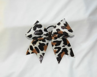 Leopard Patterned Leather-like Piggy Tail Cheer Bow Hair Bow
