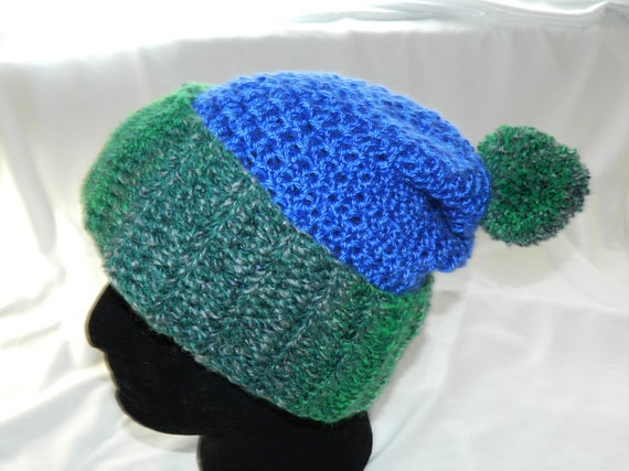 b3fee938263 Crocheted Blue and Green Slouchy Beanie Hat with Pom