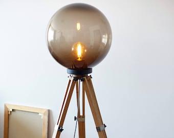 Tripod Lamp, Wood Floor Lamp, Industrial Lamp, Bulb Lamp, Big Lamp, Boho Lighting, Night Lamp, Glass Lamp, Movie Studio Decor, Gift Idea