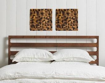 Wooden Sculpture Art Set Of 2 Mosaics Wall Decor Square Sound Diffuser Bedroom Hanging