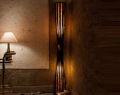 Floor Lamp, Wooden Lamp, Wedding Decor, Bamboo Furniture, Wedding Lamp, Lodge Decor, Cabin Decor, Reclaimed Wood Furniture, Bamboo Lamp