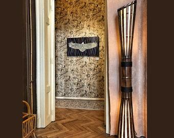 Floor Lamp, Bamboo Furniture, Yoga Studio Decor, Living Room Lamp, Lodge Decor, Big Lamp, Housewarming Decor, Country Chic Decor, Lamp Gift