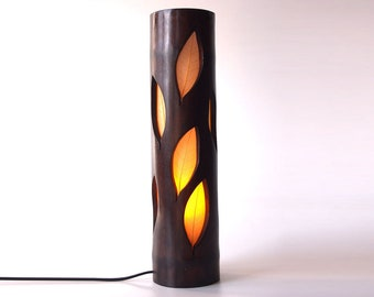 Desk Lamp, Wood Lamp, Gift For Mom, Bedside Lamp, Girlfriend Gift, Unique Lamp, Table Lamp, Bamboo Lighting, Leaf Lamp, Ambient Light