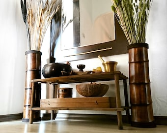 Wooden Floor Vases, Bamboo Furniture, Lodge Decor, Rustic Decor, Set Of 2 Vases, Mountain House Decor, Rustic Vases, Boho Vases, Wedding