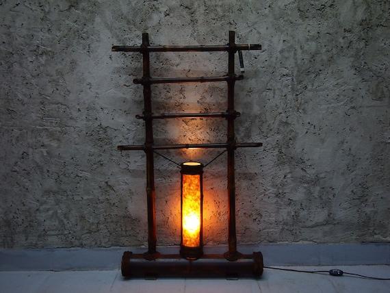 Floor Lamp, Japanese Decor, Interior Lamp, Light Decoration, Small Lamp, Bamboo Furniture, Standing Lamp, Wood Lamp, Bamboo Lighting