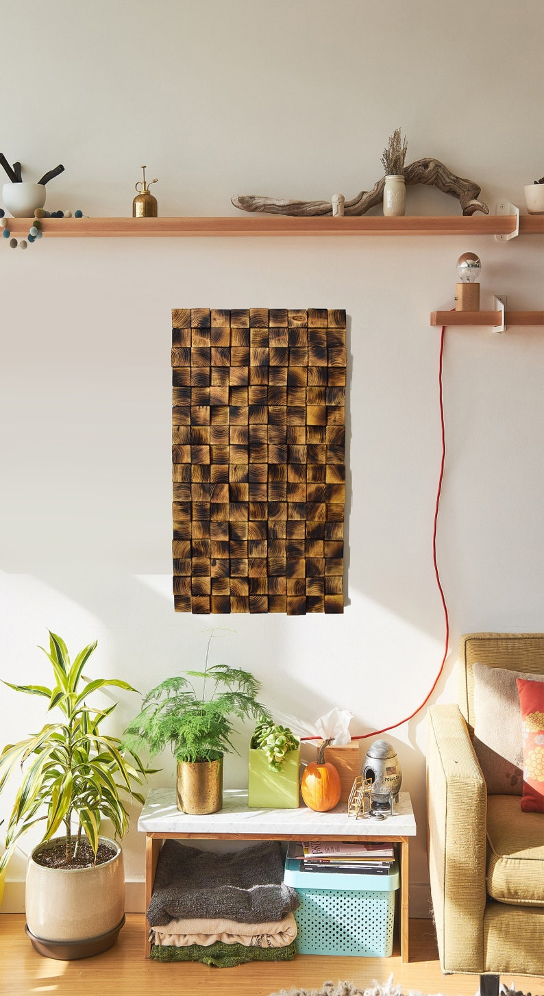 Pine Wood Decor, Square Wood Mosaic, Big Wall Decor, Wooden Wall Sculpture,  Living Room Wall Decor, Wooden Art Decor, Housewarming Decor