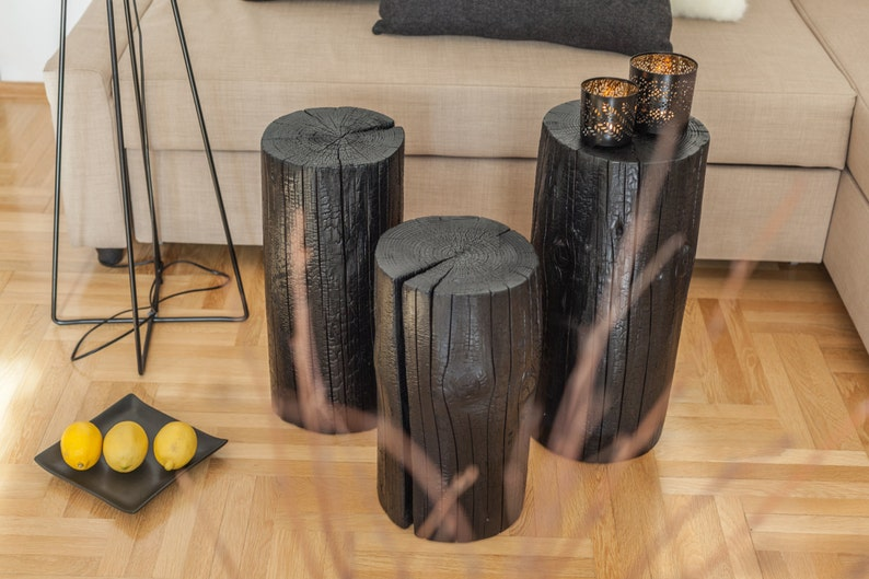 Groovy Burnt Wood Table Coffee Table Wood Side Table Pine Log Table Tree Stump Table Nightstand Wood End Table Wood Stool Shabby Chic Decor Home Interior And Landscaping Ymoonbapapsignezvosmurscom
