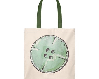 Green Button aquarelle Tote Bag - Vintage