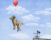 Dudley Sails Away (framed print from watercolour of toy dog, red balloon and weathervane by Cori Lee Marvin)