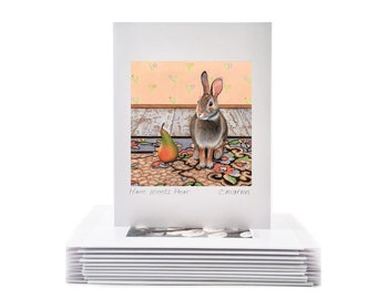 Set of 10 Cheerful Bunnies (cute, whimsical, rabbit greeting cards from watercolor art)