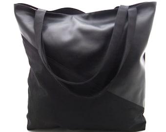 "XL-Shopper - Shoulder Bag - Tote Bage - Pouch - Bag made of leatherette and canvas ""black"", black faux leather and black canvas as tote bag"