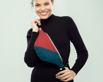 "Fanny Pack ""Divided"", Hip Bag, Belt Bag, diagonally divided, canvas, zipper in rosegold, red, petrol, black"