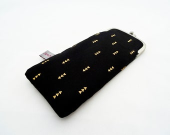 """Glasses/ Spectacle case """"golden triangles"""", with silver temple clasp, black with golden triangles"""