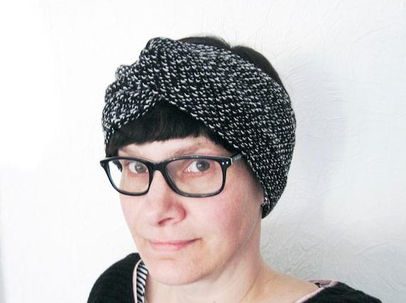 Turban Stirnband Haarband aus Strick schwarz &   Etsy