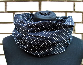 """Loop-Scraf, Scarf, Shawl """"Polka Dots"""", black with white dots, light cotton scarf"""
